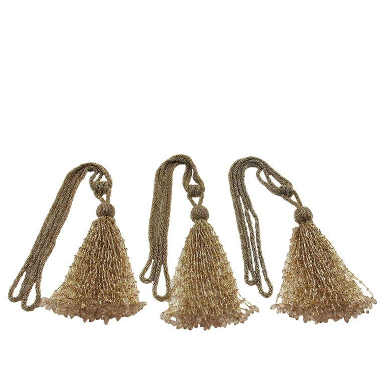 French Art Deco Trio of Crystal Beads Curtain Tassel Tie Backs Retainers For Sale