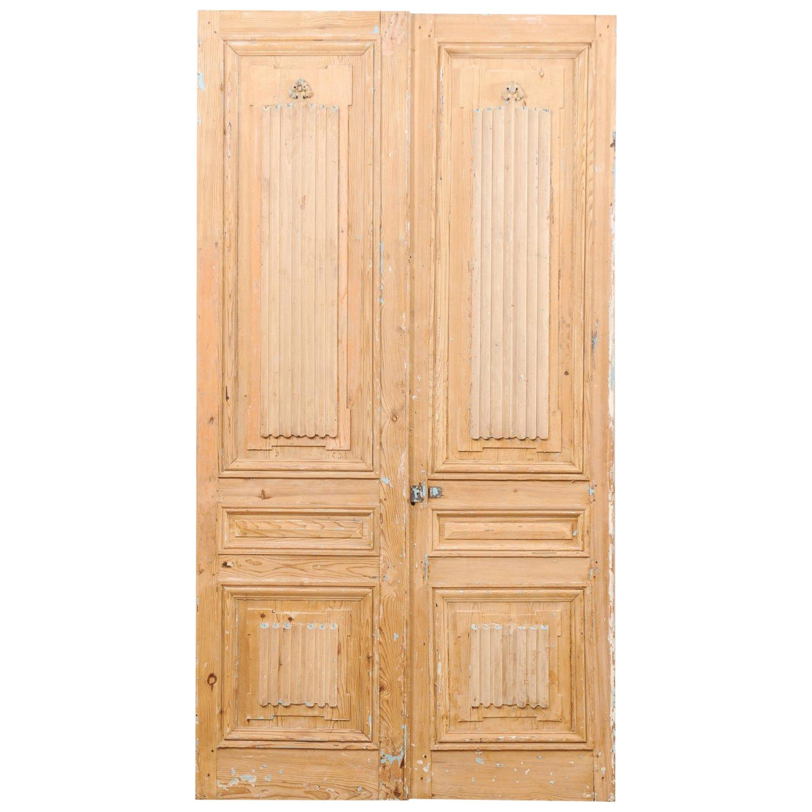 Pair of French 19th Century Linenfold Carved Wood Doors