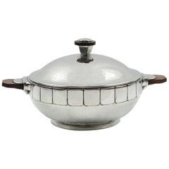 H.J. Geneve Modernist Polished Pewter Tureen Covered Dish Centerpiece