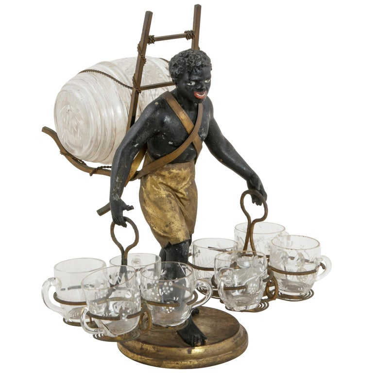19th Century French Napoleon III Period Blackamoor Liqueur Caddy with 8 Glasses For Sale