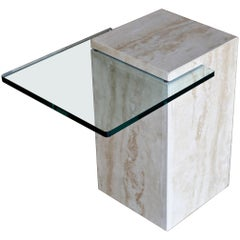 Modernist Travertine and Glass Occasional Table, 1970s