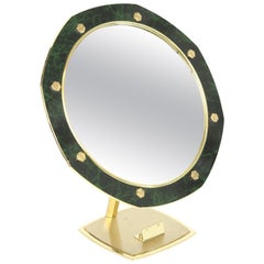 Gilt Brass and Faux Marble Vanity or Table Mirror
