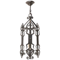 French Single Light Iron Chandelier Lantern from the Mid-20th Century