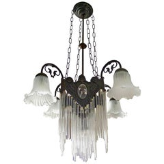 French Art Nouveau and Art Deco Clear Glass Straws Fringe Bronze Chandelier