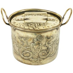 Mid-19th Century French Brass Repousse Pot with Lid from a Chateau