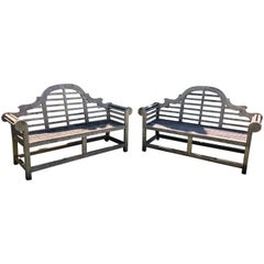 Pair of Silvered English Lutyens-Style Bench in Teak