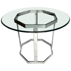 Mid-Century Modern Milo Baughman Style Round Chrome & Glass Dining Center Table
