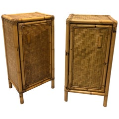 Pair of Italian Midcentury Bamboo and Rattan Nightstands or Side Tables