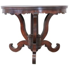 19th Century Italian Walnut Round Center Table