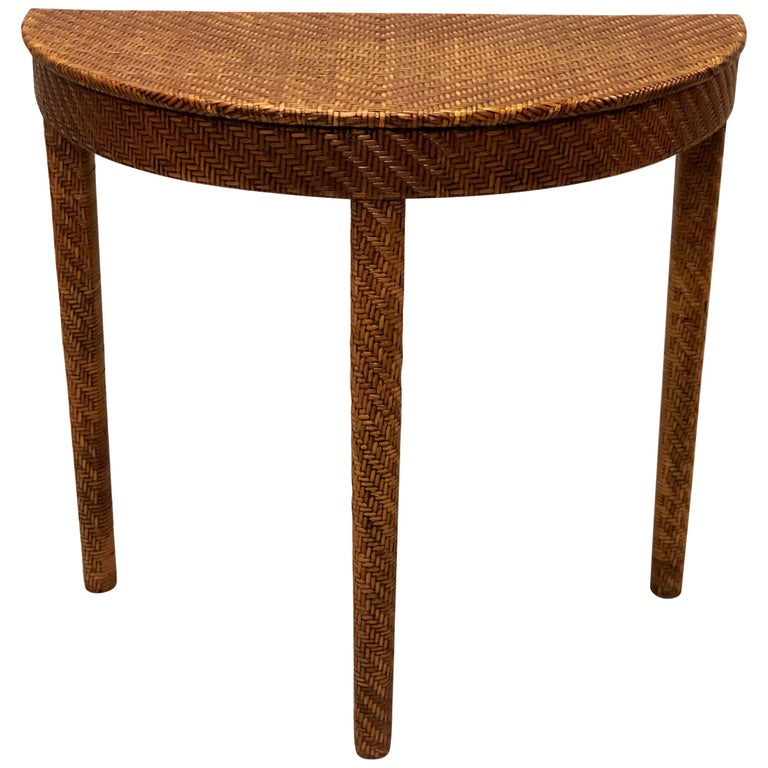Italian Mid-Century Modern Rattan and Wicker Console or Sofa Table For Sale