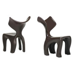 East Dining and Lounge Chair, Integrally Colored Chocolate Resin Jordan Mozer