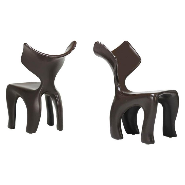East Dining and Lounge Chair, Integrally Colored Chocolate Resin Jordan Mozer For Sale