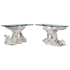 Pair of Italian Neoclassical Style Figural Marble Consoles