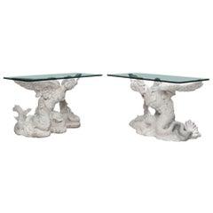 Paar italienischer neoklassizistischer Stil figürliche Marmor Konsolen