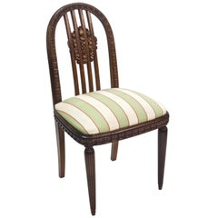 Paul Follot Four Sculpted Rosewood Side Chairs