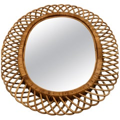 2 Italian Mid-Century Modern Rattan and Bamboo Wall Mirrors Attributed to Albini