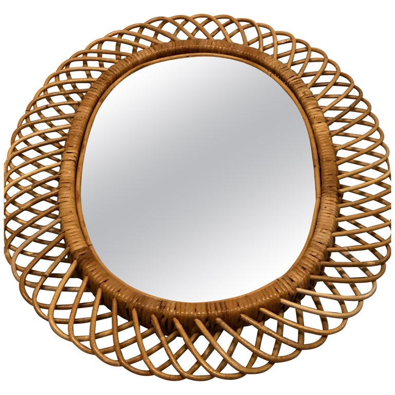 2 Italian Mid-Century Modern Rattan and Bamboo Wall Mirrors Attributed to Albini For Sale