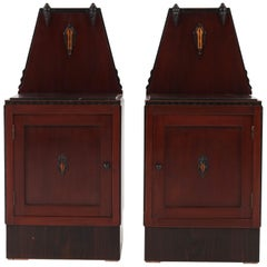 Pair of Mahogany Art Deco Amsterdam School Nightstands or Bedside Tables, 1920s