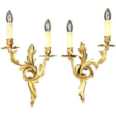 Pair of French Louis XV Style Rococo Gilt Bronze Two-Armed Sconces