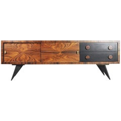 Italian Glamour Burl Rosewood Sideboard with Drawers, 1960s
