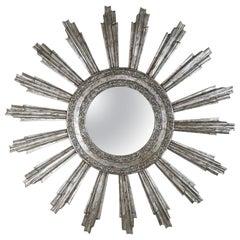 Monumental Silvered Sunburst Mirror by Melissa Levinson