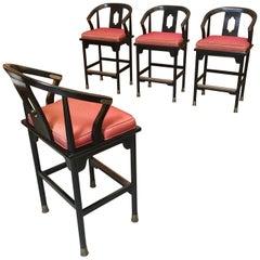 Asian Modernist Ebonized Barstools