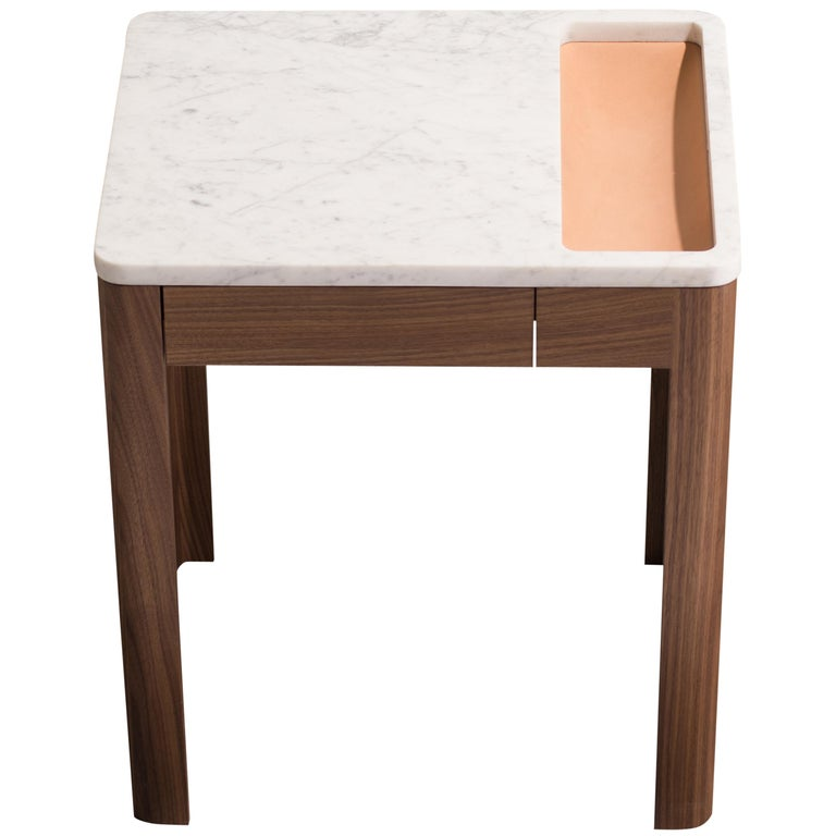 Contemporary Void Side Table in White Oak, Carrara Marble, and Leather by Harold For Sale