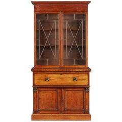 Mid-19th Century English Mahogany and Satinwood Secretaire Bookcase