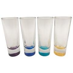 Vintage Barware Colored Glass Shot Glasses, Set of 4