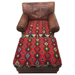Mouth Watering Ralph Lauren Leather and Kilim Club Chair and Ottoman