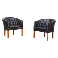 Pair of Tufted Danish Lounge Chairs Attributed to Kaare Klint Borge Mogensen