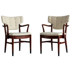 Acton Bjørn and Vilhelm Lauritzen 'Attribution' Armchairs, Beech, Fabric, 1940s