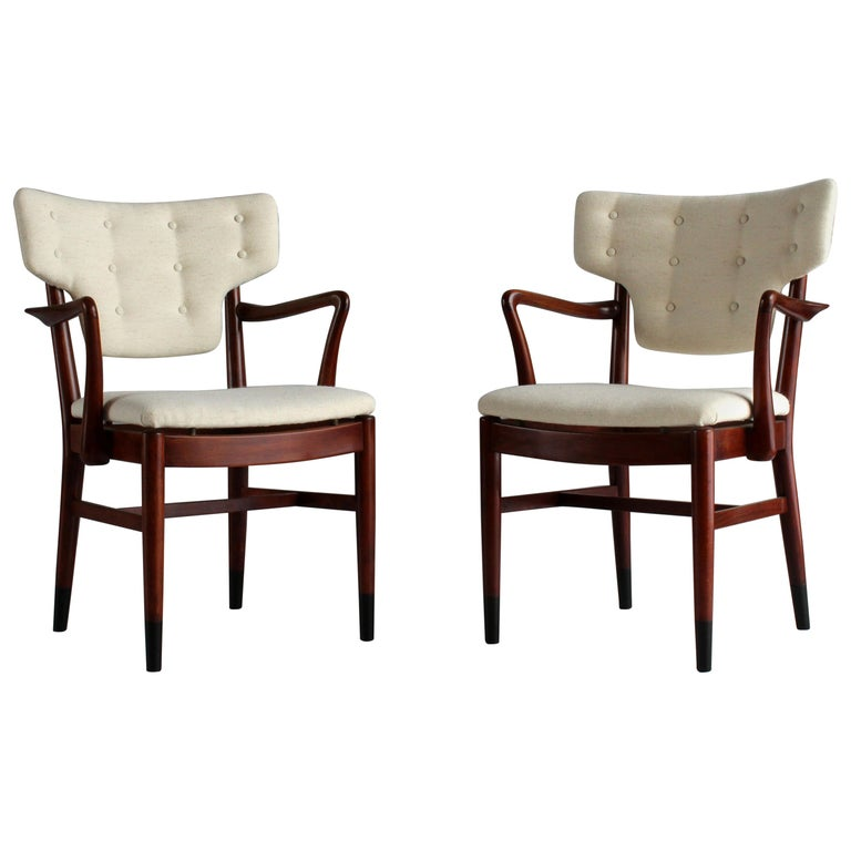 Acton Bjørn and Vilhelm Lauritzen 'Attribution' Armchairs, Beech, Fabric, 1940s For Sale