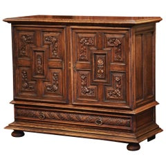 19th Century Italian Carved Walnut Two-Door Buffet Cabinet with Bottom Drawer