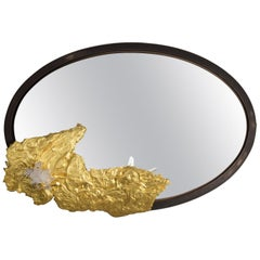 Studio Greytak 'Mirror 3' With Gold Leafed Montana Pine and Colombian Crystal