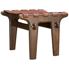 Angel Pazmino Handcrafted Rustic Leather Native Ecuadorian Sling Stool