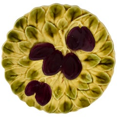 Sarreguemines French Faïence Majolica Plum Fruit and Leaf Plate, Two Available