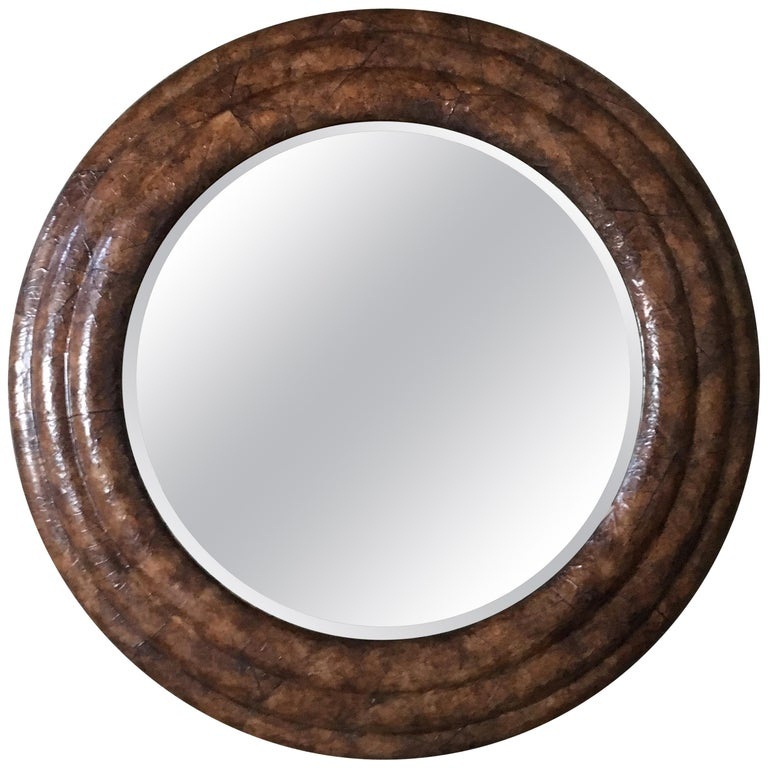 Tobacco Leaf Framed mirror by Maitland-Smith For Sale