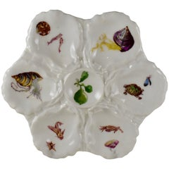 French Haviland Limoges Porcelain Hand Painted Crab & Turtle Oyster Plate
