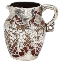 Rare Emile Galle Glass and Silver Overlay Pitcher