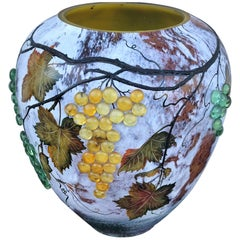 Large Art Glass Vase with Applied Grapes, after Daum Nancy
