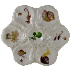 French Haviland Limoges Porcelain Hand Painted Sea Horse & Conch Oyster Plate