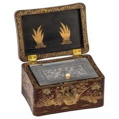 Chinoiserie Lacquer Tea Caddy Box