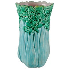 Aesthetic Movement English Majolica Tall Celery Vase, circa 1860