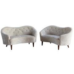 Nanna Ditzel 'Attribution' Pair of Sofas/Loveseats, Sheepskin, Beech