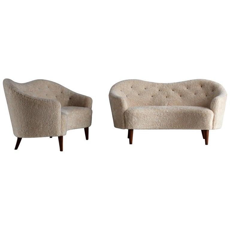 Nanna Ditzel 'Attribution' Pair of Sofas/Loveseats, Sheepskin, Beech For Sale