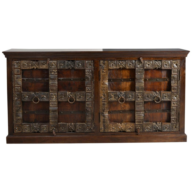 Contemporary Wooden Sideboard In Antique Rustic Style For Sale