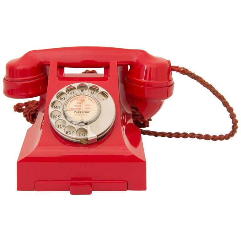 Art Deco Red Bakelite Telephone For Sale