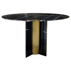 Koket Paris Dining Table in Polished Sahara Noir Marble