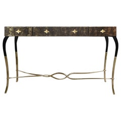 Koket Luridae Console Table in Polished Base Brass